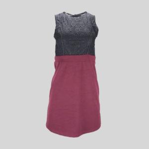robe-femme-violet-noir-de-seconde-main-de-dos