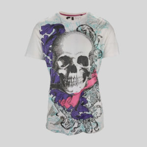 t-shirt-homme-clock-house-blanc-motif-tete-de-mort-de-seconde-main-de-face